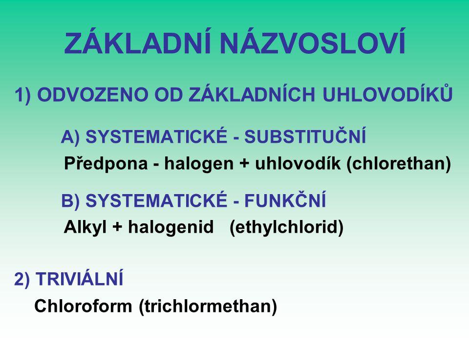 VZORCE, NÁZVY,MODELY CHLORMETHANDICHLORMETHANTRICHLORMETHAN CHLOROFORM TETRACHLORMETHAN CH 3 ClCH 2 Cl 2 CHCl 3 CCl 4