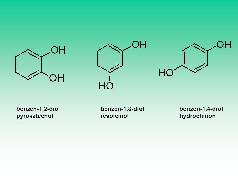 benzen-1,3-diol resolcinol benzen-1,4-diol hydrochinon benzen-1,2-diol pyrokatechol