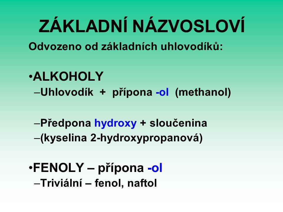 ZÁKLADNÍ NÁZVOSLOVÍ Odvozeno od základních uhlovodíků: ALKOHOLY –Uhlovodík + přípona -ol (methanol) –Předpona hydroxy + sloučenina –(kyselina 2-hydroxypropanová) FENOLY – přípona -ol –Triviální – fenol, naftol