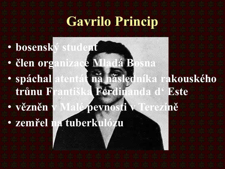 Gavrilo Princip bosenský student člen organizace Mladá Bosna spáchal atentát na následníka rakouského trůnu Františka Ferdinanda d' Este vězněn v Malé