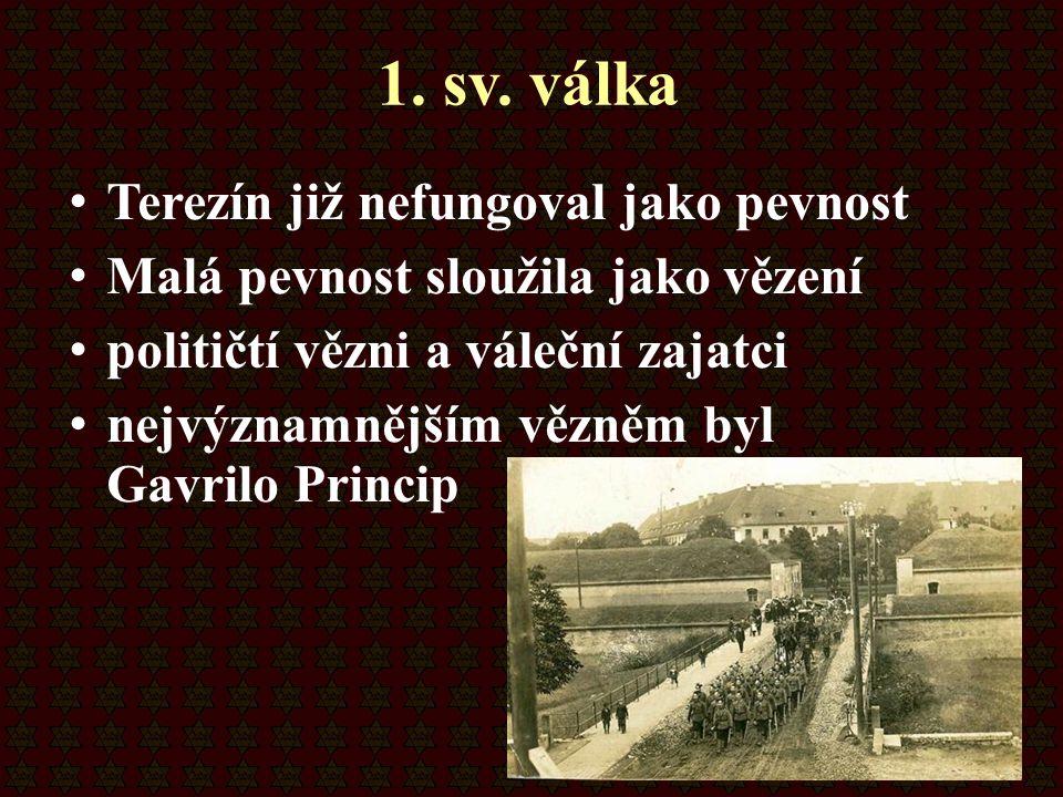 1. sv. válka Terezín již nefungoval jako pevnost Malá pevnost sloužila jako vězení političtí vězni a váleční zajatci nejvýznamnějším vězněm byl Gavril