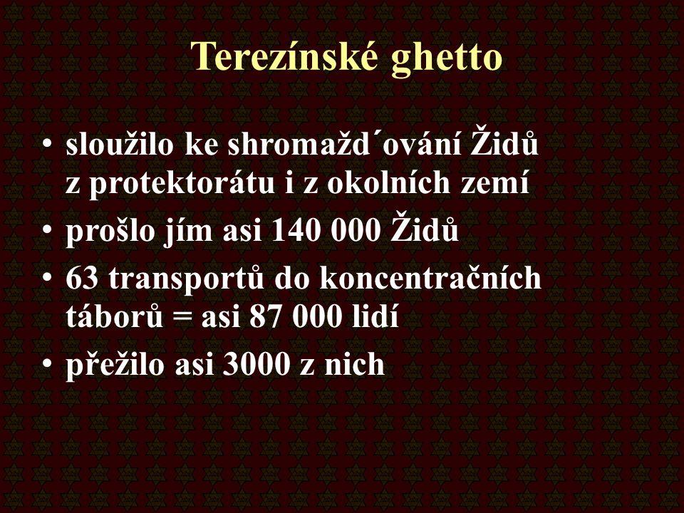Terezínské ghetto sloužilo ke shromažd´ování Židů z protektorátu i z okolních zemí prošlo jím asi 140 000 Židů 63 transportů do koncentračních táborů