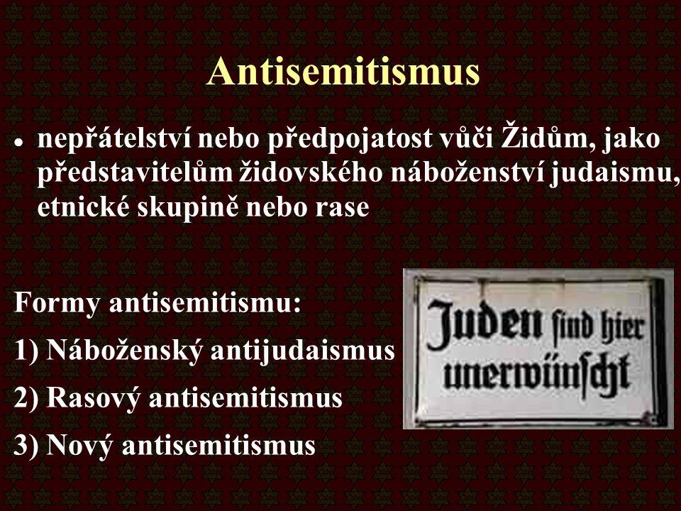 Antisemitismus nepřátelství nebo předpojatost vůči Židům, jako představitelům židovského náboženství judaismu, etnické skupině nebo rase Formy antisem