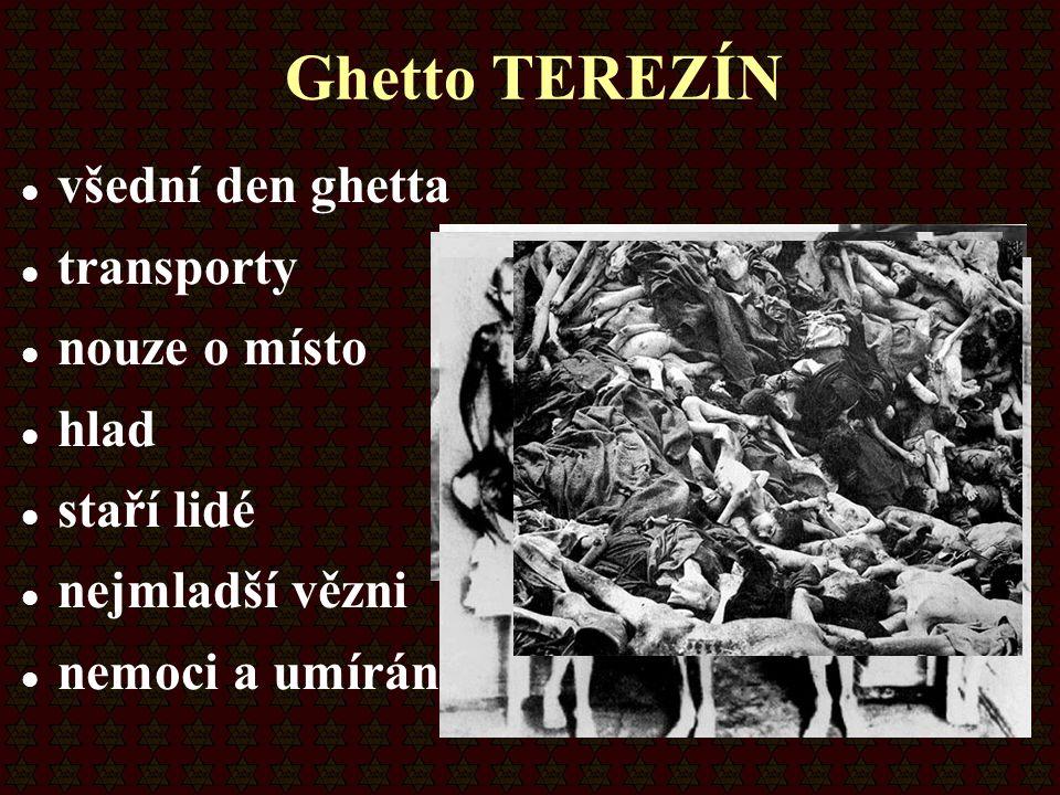 Ghetto TEREZÍN všední den ghetta transporty nouze o místo hlad staří lidé nejmladší vězni nemoci a umírání