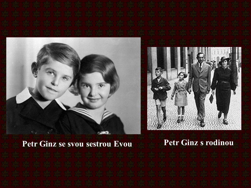 Petr Ginz se svou sestrou Evou Petr Ginz s rodinou