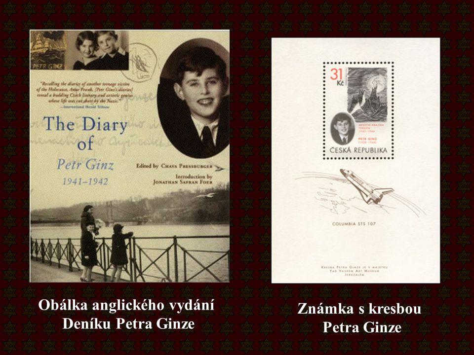 Obálka anglického vydání Deníku Petra Ginze Známka s kresbou Petra Ginze