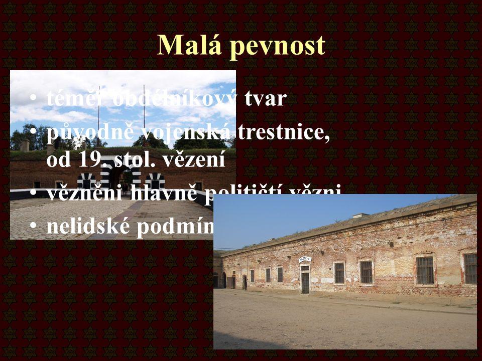 Malá pevnost téměř obdélníkový tvar původně vojenská trestnice, od 19. stol. vězení vězněni hlavně političtí vězni nelidské podmínky