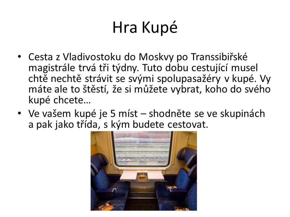 Hra Kupé Cesta z Vladivostoku do Moskvy po Transsibiřské magistrále trvá tři týdny.