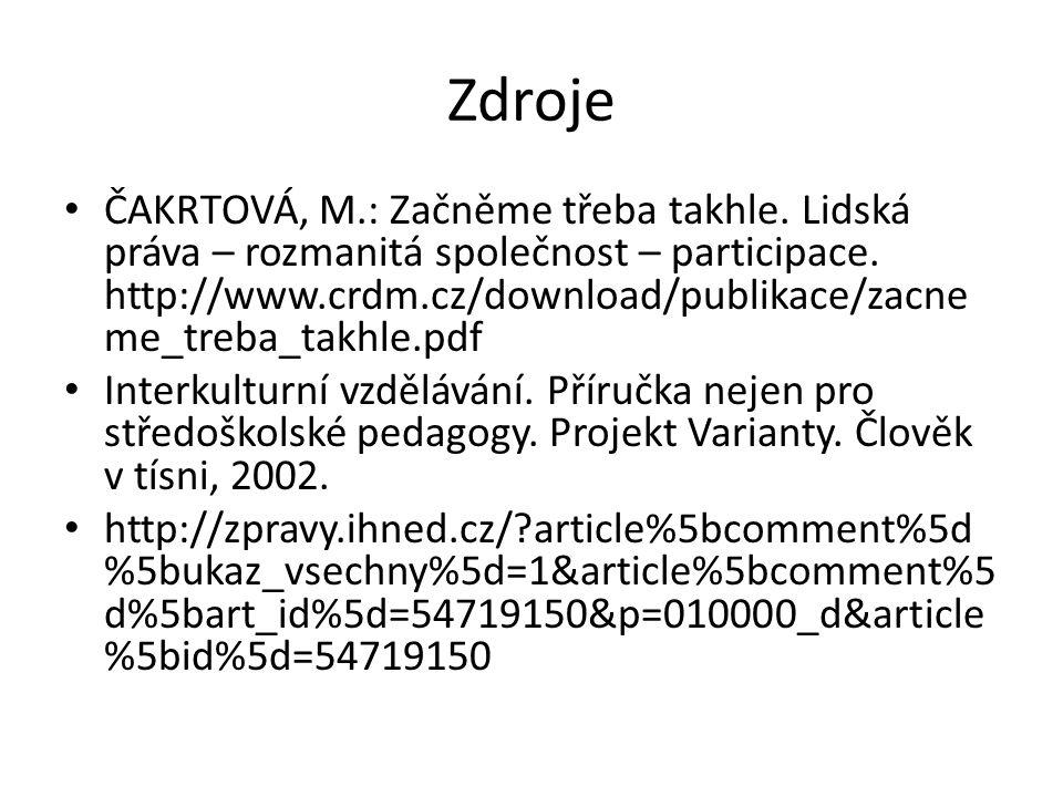 Zdroje ČAKRTOVÁ, M.: Začněme třeba takhle. Lidská práva – rozmanitá společnost – participace.