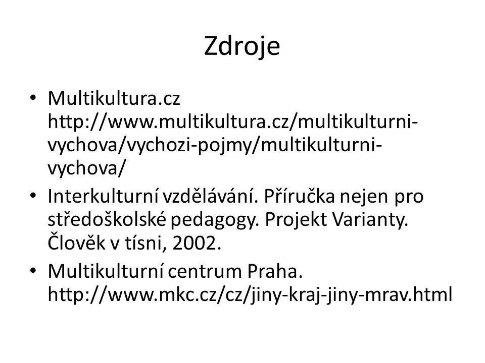 Zdroje Multikultura.cz http://www.multikultura.cz/multikulturni- vychova/vychozi-pojmy/multikulturni- vychova/ Interkulturní vzdělávání.