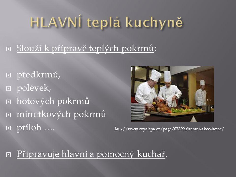  Slouží k přípravě teplých pokrmů:  předkrmů,  polévek,  hotových pokrmů  minutkových pokrmů  příloh …. http:// www.royalspa.cz/page/67892.firem