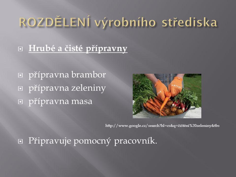  Hrubé a čisté přípravny  přípravna brambor  přípravna zeleniny  přípravna masa  Připravuje pomocný pracovník. http://www.google.cz/search?hl=cs&