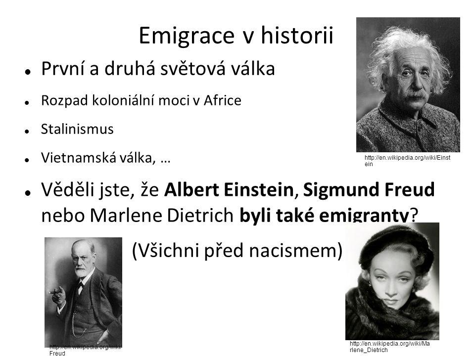 Emigrace v historii První a druhá světová válka Rozpad koloniální moci v Africe Stalinismus Vietnamská válka, … Věděli jste, že Albert Einstein, Sigmund Freud nebo Marlene Dietrich byli také emigranty.