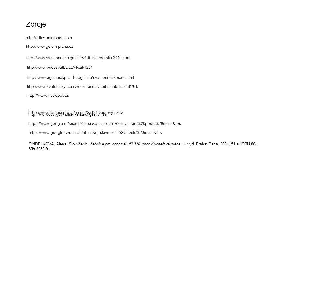 ŠINDELKOVÁ, Alena. Stolničení: učebnice pro odborná učiliště, obor Kuchařské práce. 1. vyd. Praha: Parta, 2001, 51 s. ISBN 80- 859-8985-9. http://offi