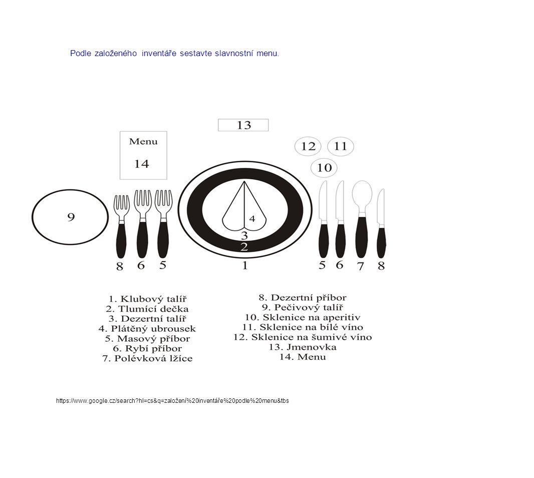 Podle založeného inventáře sestavte slavnostní menu. https://www.google.cz/search?hl=cs&q=založení%20inventáře%20podle%20menu&tbs