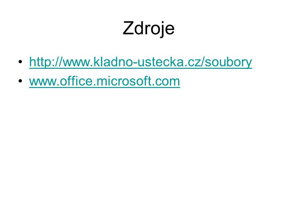 Zdroje http://www.kladno-ustecka.cz/soubory www.office.microsoft.com
