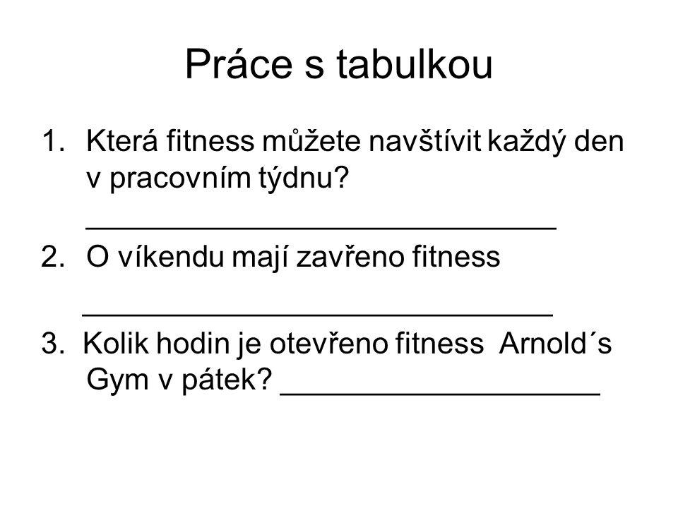 Práce s tabulkou 1.Která fitness můžete navštívit každý den v pracovním týdnu? ____________________________ 2.O víkendu mají zavřeno fitness _________