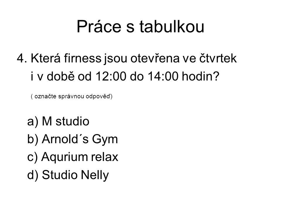 Práce s tabulkou 4. Která firness jsou otevřena ve čtvrtek i v době od 12:00 do 14:00 hodin? ( označte správnou odpověď) a) M studio b) Arnold´s Gym c