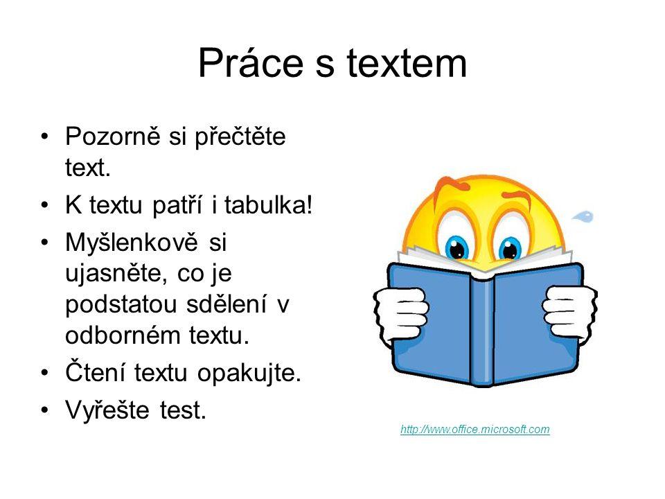 Práce s textem Pozorně si přečtěte text. K textu patří i tabulka.