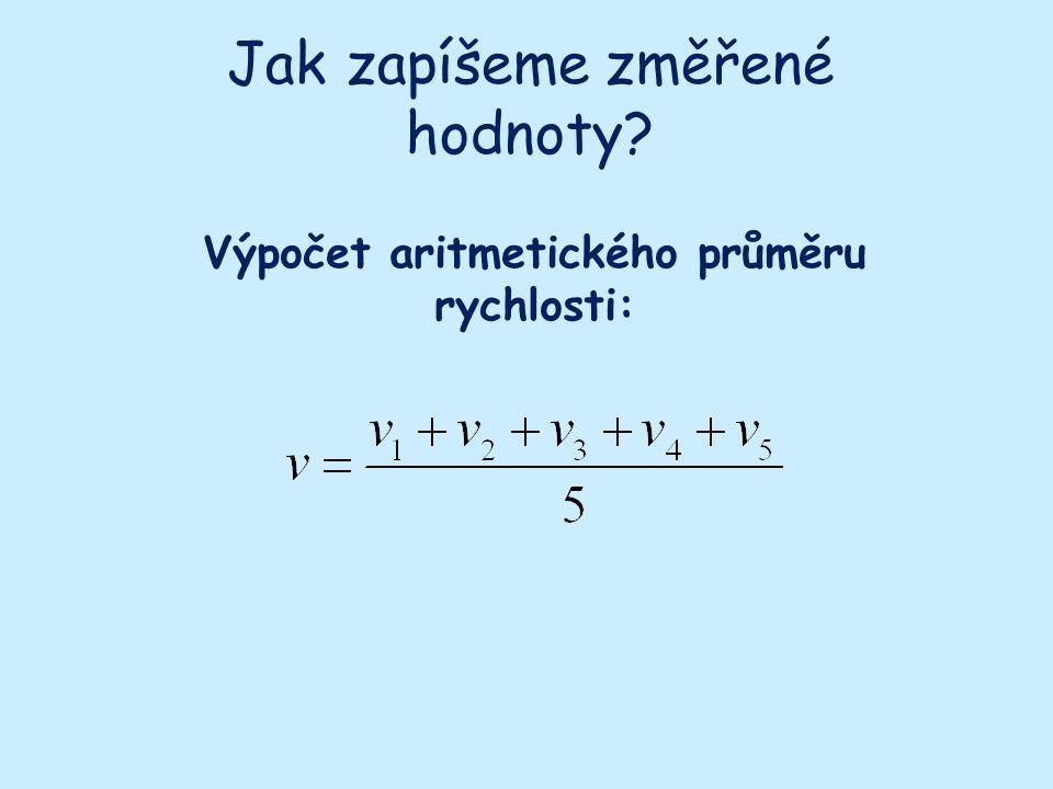 Výpočet aritmetického průměru rychlosti: Jak zapíšeme změřené hodnoty?