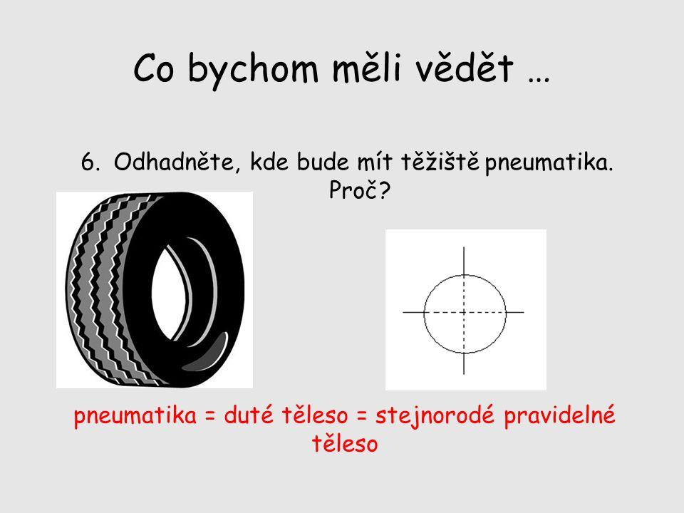 Co bychom měli vědět … 6. Odhadněte, kde bude mít těžiště pneumatika. Proč? pneumatika = duté těleso = stejnorodé pravidelné těleso