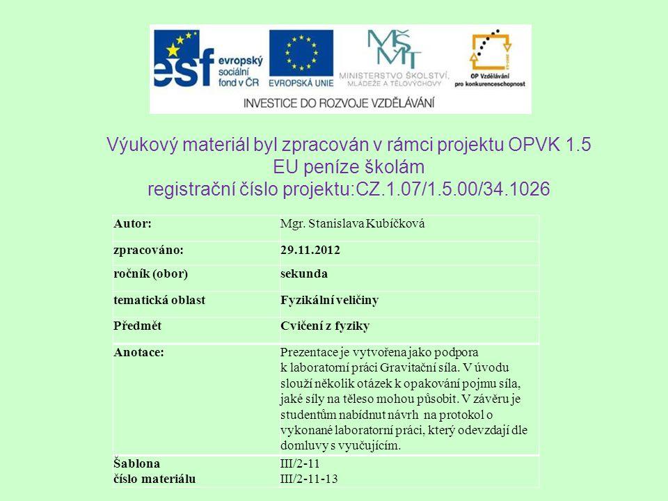 Výukový materiál byl zpracován v rámci projektu OPVK 1.5 EU peníze školám registrační číslo projektu:CZ.1.07/1.5.00/34.1026 Autor:Mgr. Stanislava Kubí