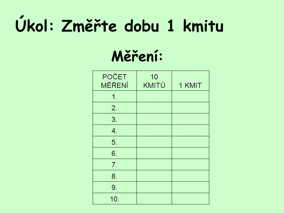 Úkol: Změřte dobu 1 kmitu Měření: POČET MĚŘENÍ 10 KMITŮ1 KMIT 1. 2. 3. 4. 5. 6. 7. 8. 9. 10.