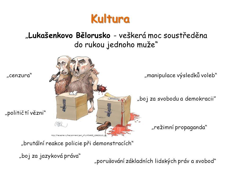 """Kultura """"Lukašenkovo Bělorusko - veškerá moc soustředěna do rukou jednoho muže"""" """"boj za jazyková práva"""" """"cenzura""""""""manipulace výsledků voleb"""" """"brutální"""