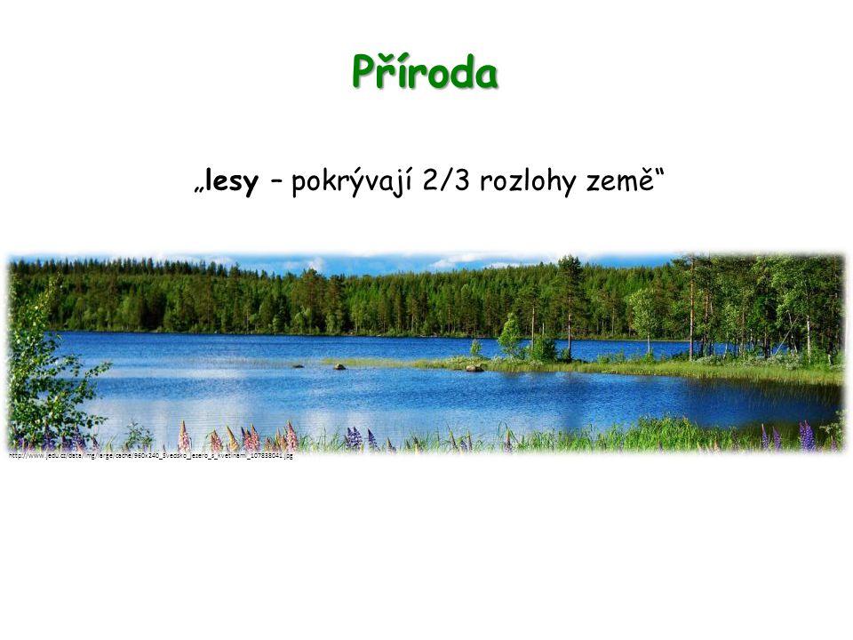 """Příroda """"lesy – pokrývají 2/3 rozlohy země http://www.jedu.cz/data/img/large/cache/960x240_Svedsko_jezero_s_kvetinami_107838041.jpg"""