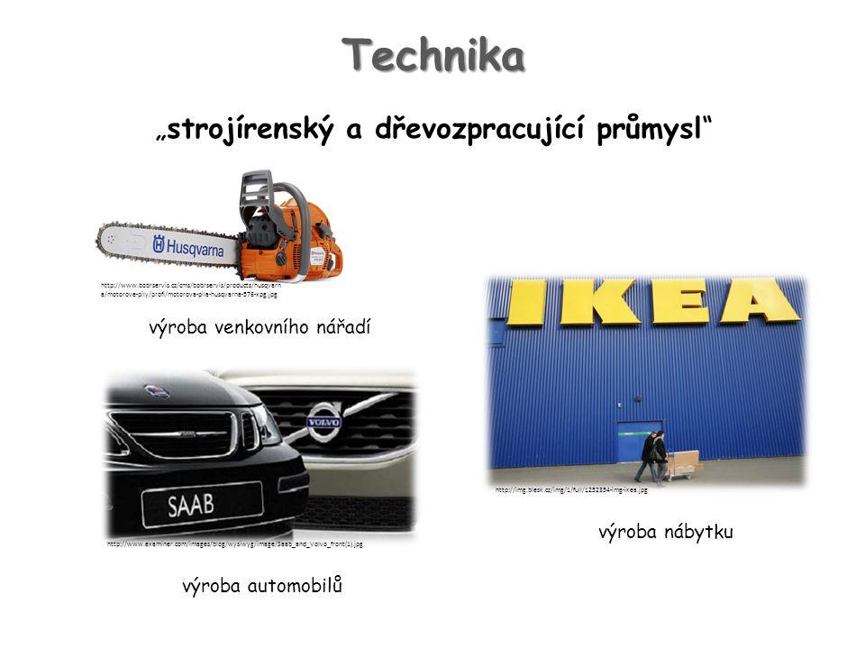 """Technika """"strojírenský a dřevozpracující průmysl výroba nábytku výroba automobilů výroba venkovního nářadí http://www.bobrservis.cz/cms/bobrservis/products/husqvarn a/motorove-pily/profi/motorova-pila-husqvarna-576-xpg.jpg http://www.examiner.com/images/blog/wysiwyg/image/Saab_and_Volvo_front(1).jpg http://img.blesk.cz/img/1/full/1252354-img-ikea.jpg"""