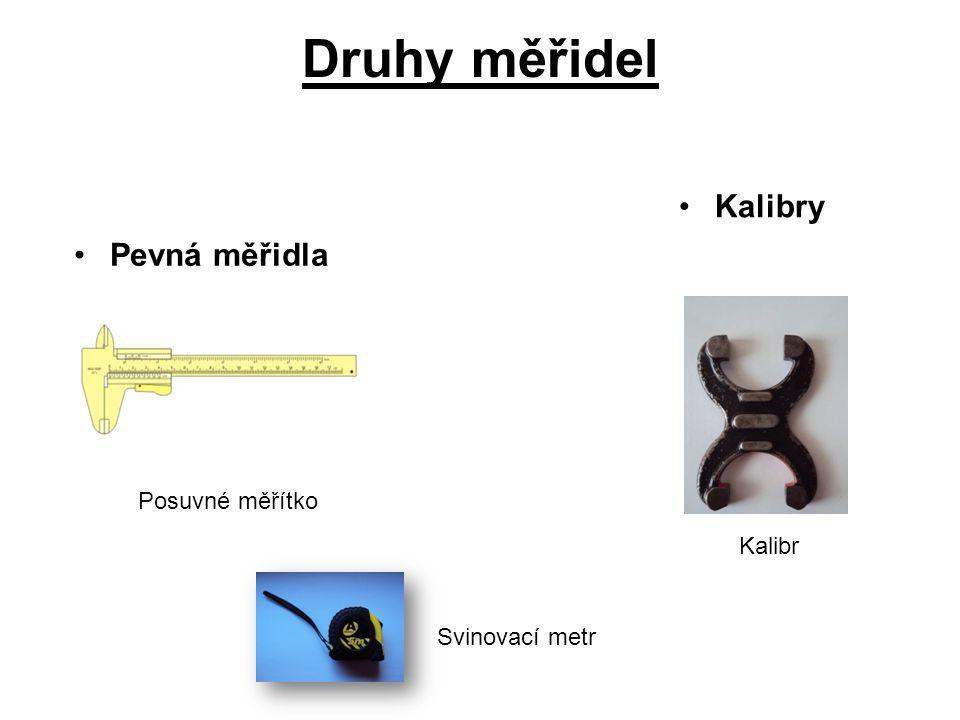 Druhy měřidel Pevná měřidla Kalibry Posuvné měřítko Svinovací metr Kalibr