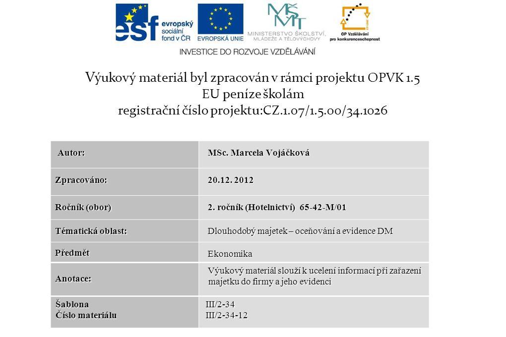 V ýukový materiál byl zpracován v rámci projektu OPVK 1.5 EU peníze školám registrační číslo projektu:CZ.1.07/1.5.00/34.1026 Autor: Autor: MSc.