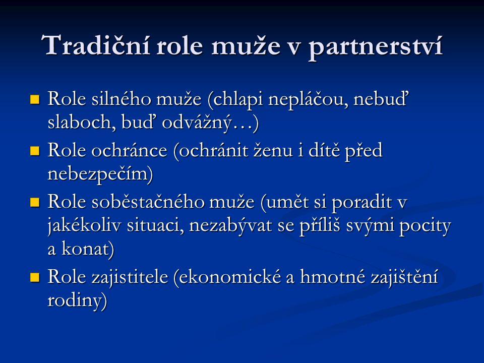 Tradiční role muže v partnerství Role silného muže (chlapi nepláčou, nebuď slaboch, buď odvážný…) Role silného muže (chlapi nepláčou, nebuď slaboch, b
