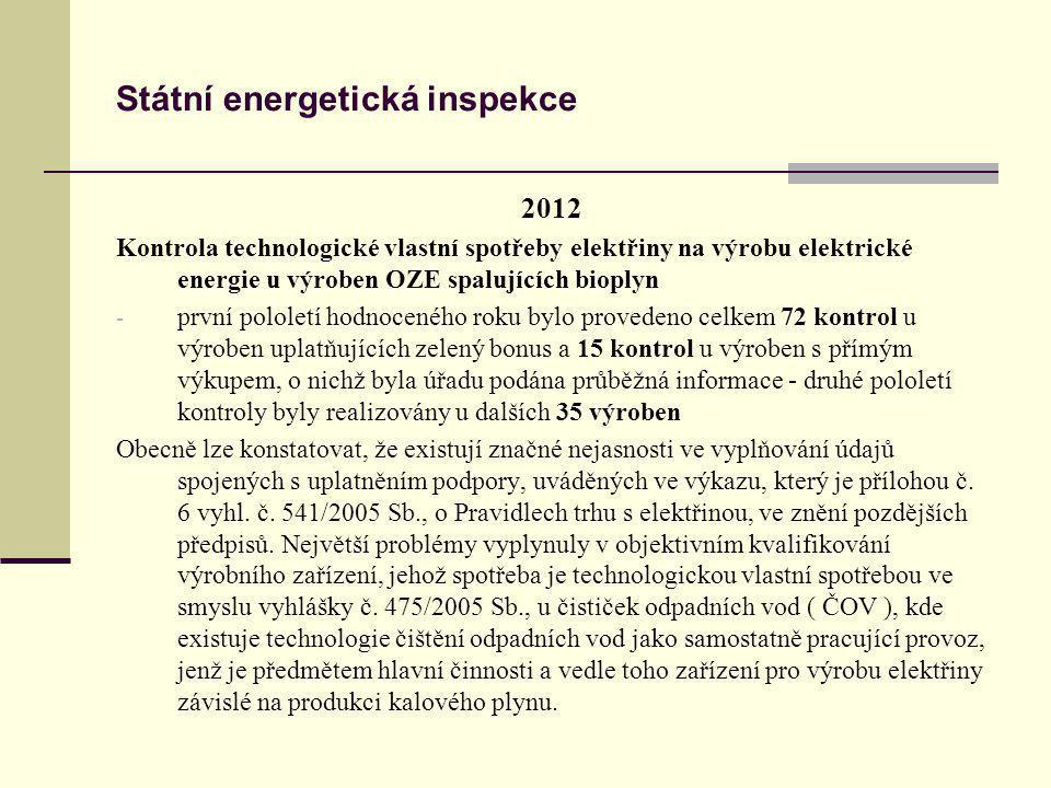 Státní energetická inspekce 2012 Kontrola technologické vlastní spotřeby elektřiny na výrobu elektrické energie u výroben OZE spalujících bioplyn - pr