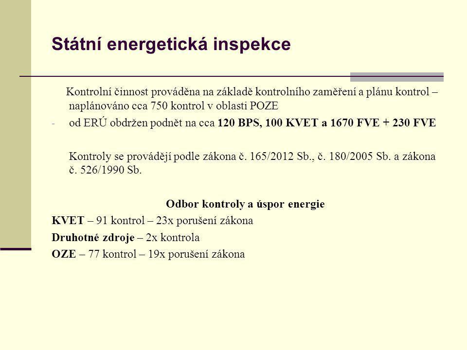 Státní energetická inspekce Kontrolní činnost prováděna na základě kontrolního zaměření a plánu kontrol – naplánováno cca 750 kontrol v oblasti POZE -