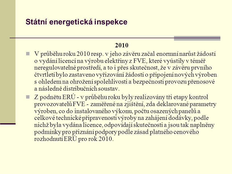 Státní energetická inspekce 2010 V průběhu roku 2010 resp. v jeho závěru začal enormní narůst žádostí o vydání licencí na výrobu elektřiny z FVE, kter
