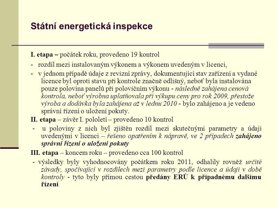 Státní energetická inspekce I. etapa – počátek roku, provedeno 19 kontrol - rozdíl mezi instalovaným výkonem a výkonem uvedeným v licenci, - v jednom