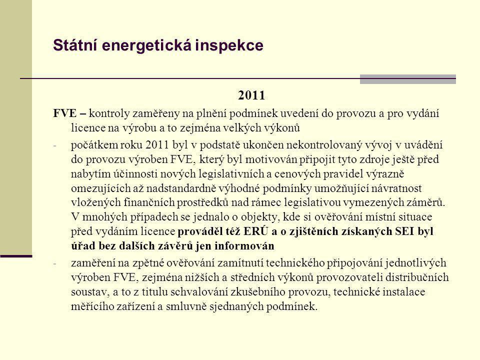 Státní energetická inspekce 2011 FVE – kontroly zaměřeny na plnění podmínek uvedení do provozu a pro vydání licence na výrobu a to zejména velkých výk