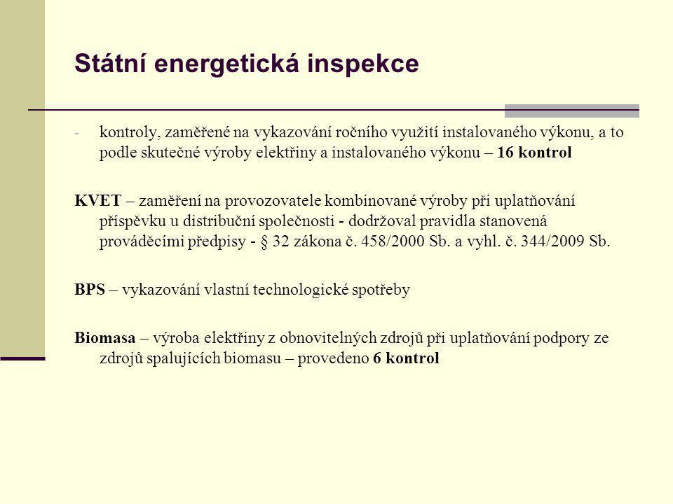 Státní energetická inspekce 2012 Kontrola technologické vlastní spotřeby elektřiny na výrobu elektrické energie u výroben OZE spalujících bioplyn - první pololetí hodnoceného roku bylo provedeno celkem 72 kontrol u výroben uplatňujících zelený bonus a 15 kontrol u výroben s přímým výkupem, o nichž byla úřadu podána průběžná informace - druhé pololetí kontroly byly realizovány u dalších 35 výroben Obecně lze konstatovat, že existují značné nejasnosti ve vyplňování údajů spojených s uplatněním podpory, uváděných ve výkazu, který je přílohou č.