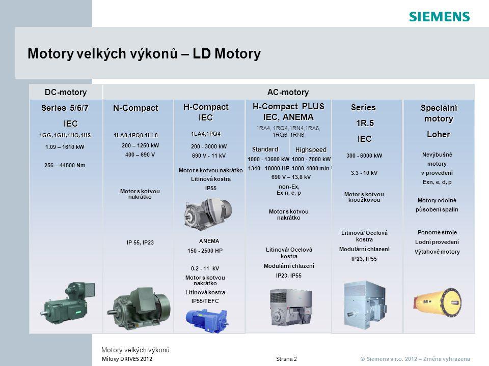 © Siemens s.r.o. 2012 – Změna vyhrazena Milovy DRIVES 2012 Strana 2 Motory velkých výkonů AC-motoryDC-motory Motory velkých výkonů – LD Motory Series