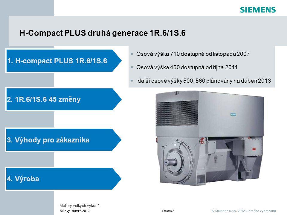 © Siemens s.r.o. 2012 – Změna vyhrazena Milovy DRIVES 2012 Strana 3 Motory velkých výkonů H-Compact PLUS druhá generace 1R.6/1S.6 2. 1R.6/1S.6 45 změn