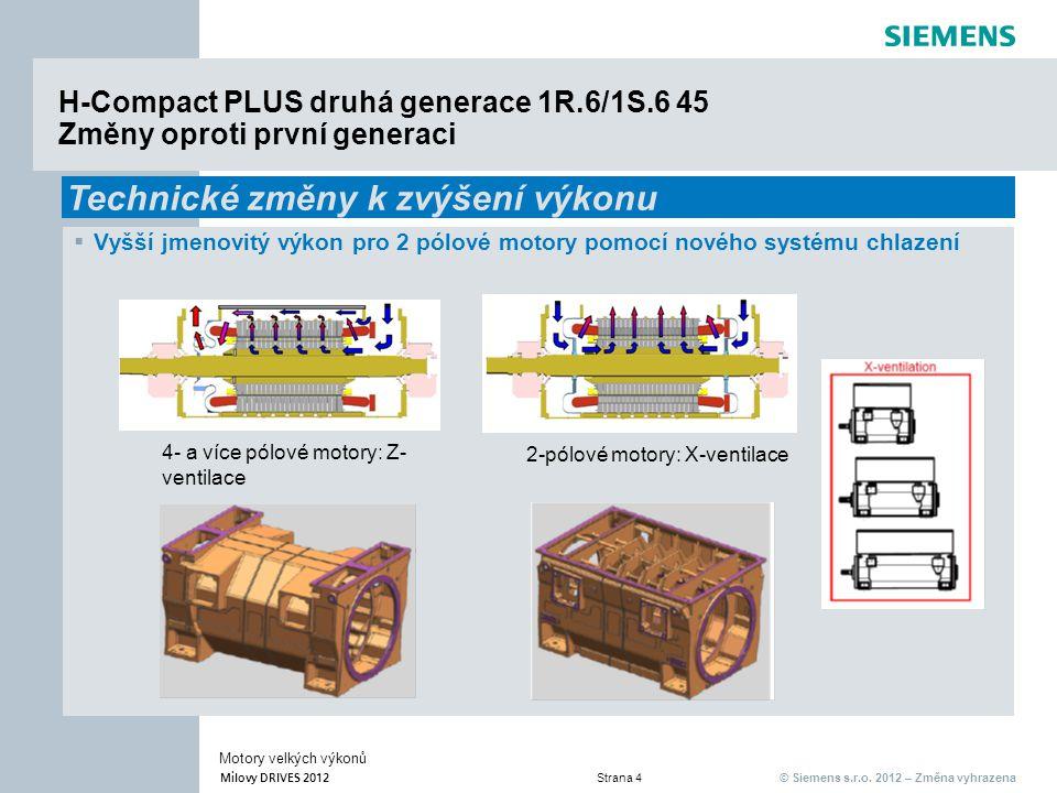 © Siemens s.r.o. 2012 – Změna vyhrazena Milovy DRIVES 2012 Strana 4 Motory velkých výkonů H-Compact PLUS druhá generace 1R.6/1S.6 45 Změny oproti prvn
