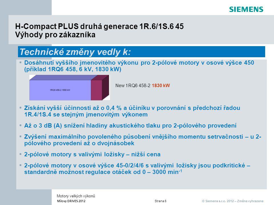 © Siemens s.r.o. 2012 – Změna vyhrazena Milovy DRIVES 2012 Strana 6 Motory velkých výkonů H-Compact PLUS druhá generace 1R.6/1S.6 45 Výhody pro zákazn