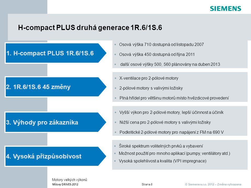 © Siemens s.r.o. 2012 – Změna vyhrazena Milovy DRIVES 2012 Strana 8 Motory velkých výkonů H-compact PLUS druhá generace 1R.6/1S.6 2. 1R.6/1S.6 45 změn