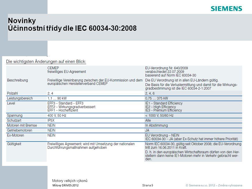 © Siemens s.r.o. 2012 – Změna vyhrazena Milovy DRIVES 2012 Strana 9 Motory velkých výkonů Novinky Účinnostní třídy dle IEC 60034-30:2008