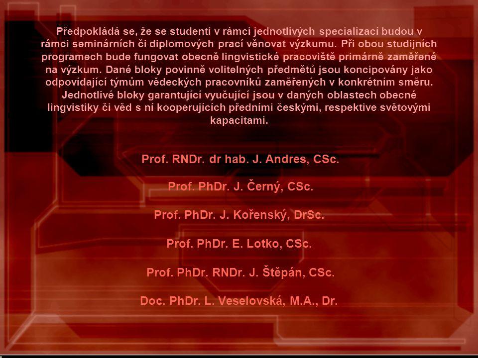 Předpokládá se, že se studenti v rámci jednotlivých specializací budou v rámci seminárních či diplomových prací věnovat výzkumu.