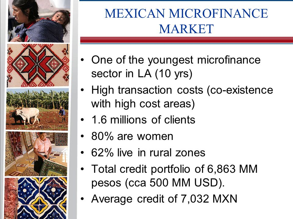 One of the youngest microfinance sector in LA (10 yrs) High transaction costs (co-existence with high cost areas) 1.6 millions of clients 80% are women 62% live in rural zones Total credit portfolio of 6,863 MM pesos (cca 500 MM USD).