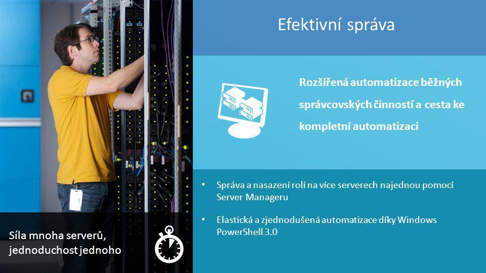 17 Správa a nasazení rolí na více serverech najednou pomocí Server Manageru Elastická a zjednodušená automatizace díky Windows PowerShell 3.0 Efektivn