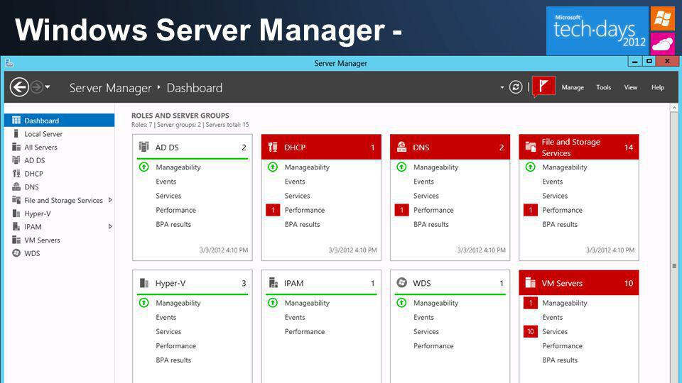 Windows Server Manager - Dashboard