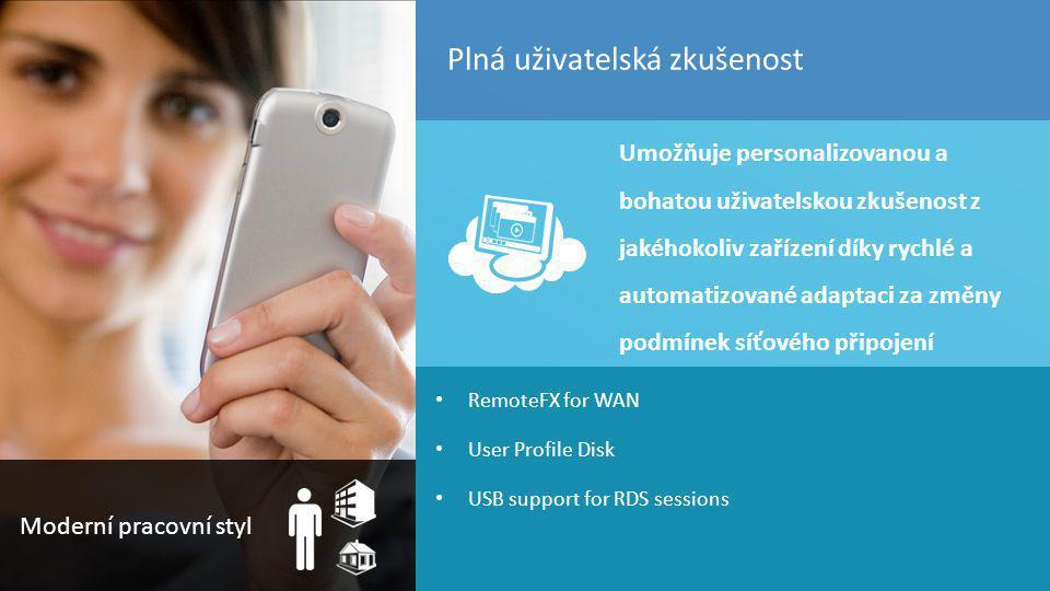 TOP Hotel Praha 7. – 8. 3. 2012 55 RemoteFX for WAN User Profile Disk USB support for RDS sessions Umožňuje personalizovanou a bohatou uživatelskou zk
